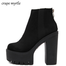 black boots platform winter shoes woman autumn punk chunky high heels women ankle for YMA109