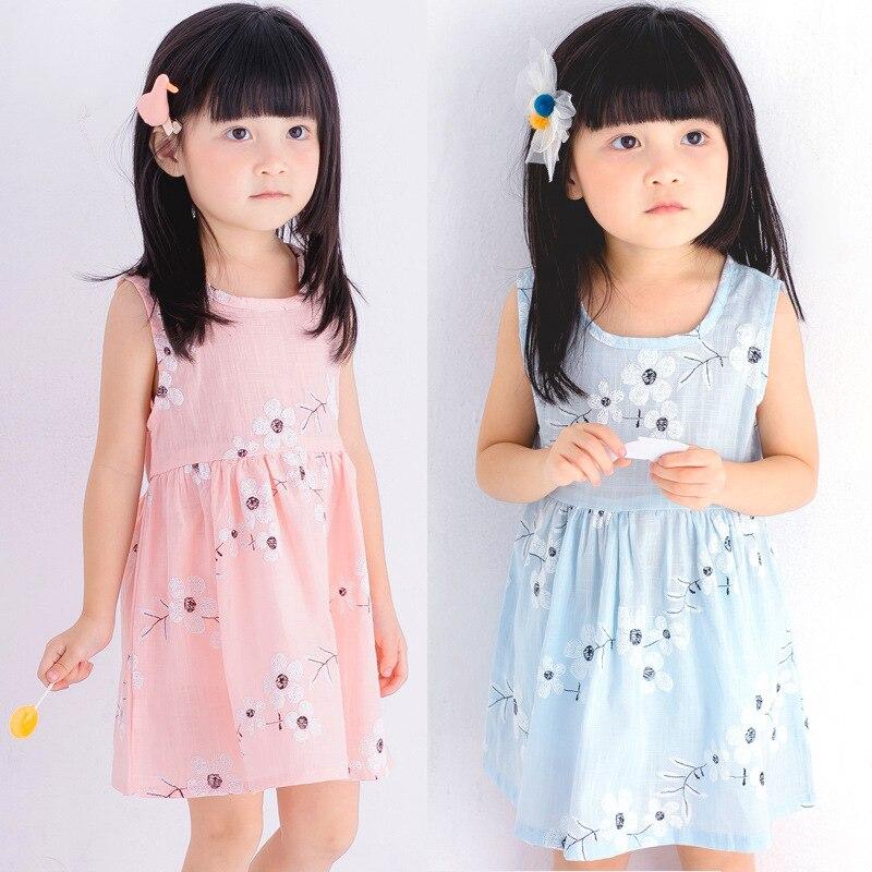/Cotton/ /girl/Korean style/baby clothing/ spring /Summer/new style/dress/girl Princess dress/ children girls /Sleeveless/ st 2018 spring new korean girls cotton dot