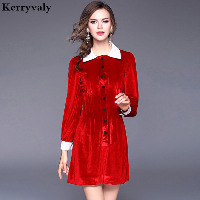 ff291e452a0 Star Style Catwalk Femmes Hiver Velours Robe Vetement Femme 2018 Robe Femme  L ukraine Rouge