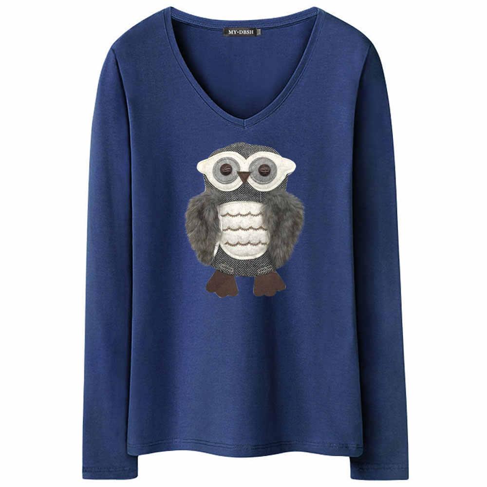 Модная женская футболка с длинным рукавом в винтажном стиле, женская одежда, хлопковые топы, футболки с аппликацией в виде совы, 3D футболка, большие размеры 5XL