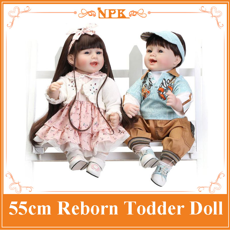 Wholesale Girl And Boy Brinquedos For Sale 22inch NPK Reborn Baby Doll 55cm Soft Silicone Reborn Bonecas Bebe Dolls For Children hot sale 2016 npk 22 inch reborn baby doll lovely soft silicone newborn girl dolls as birthday christmas gifts free pacifier