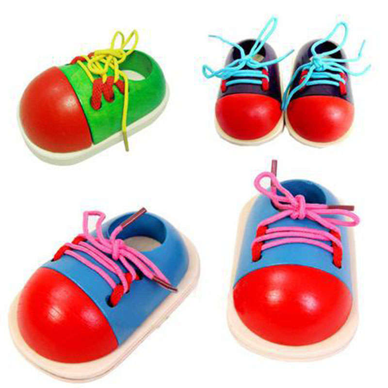 1pcs New Wooden Toy Gift For Children Little Shoes Baby Shoelace Rope Parent-Child Educational Toys Random Color M09