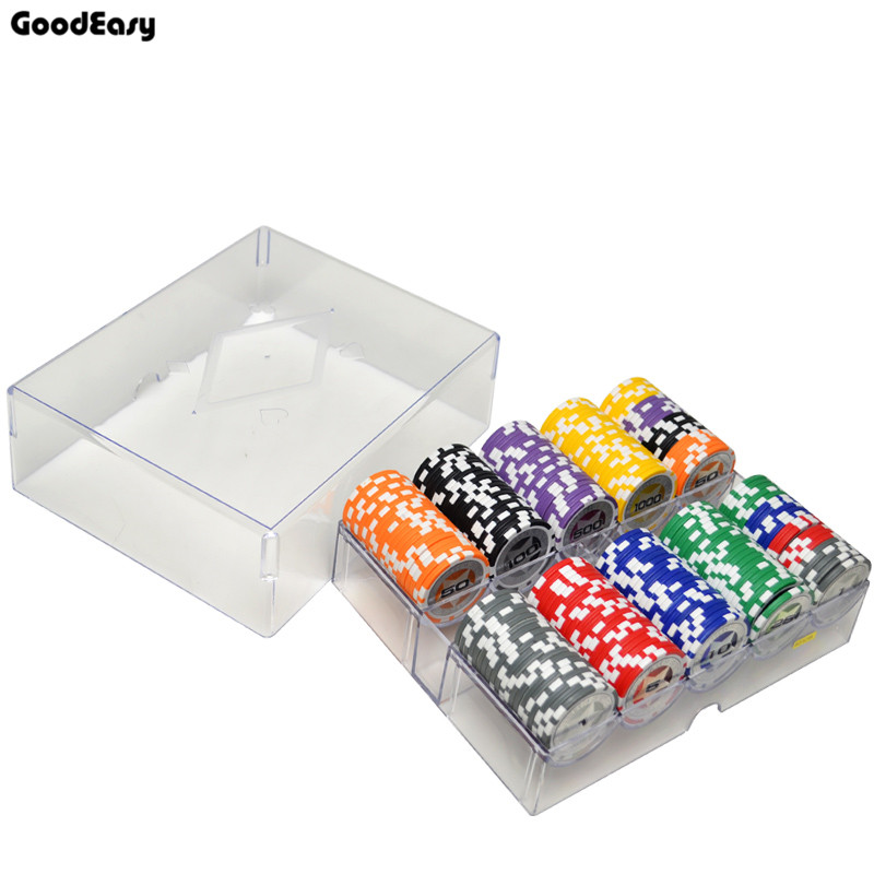 100 200PCS Lot New Casino Texas Hold em ABS Poker Chips With Star Trim Sticker Baccarat