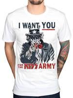 Officiële Kus Oom Sam Ik Wil U T-shirt Kus Army Rock Tour Merch Punk Indie Losse Zwarte Mannen T-Shirts Homme Tees