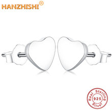 2018 Winter Collection Real 925 Sterling Silver Exquisite Fashion Simple Heart Stud Earrings For Women Triangle Jewelry Brincos
