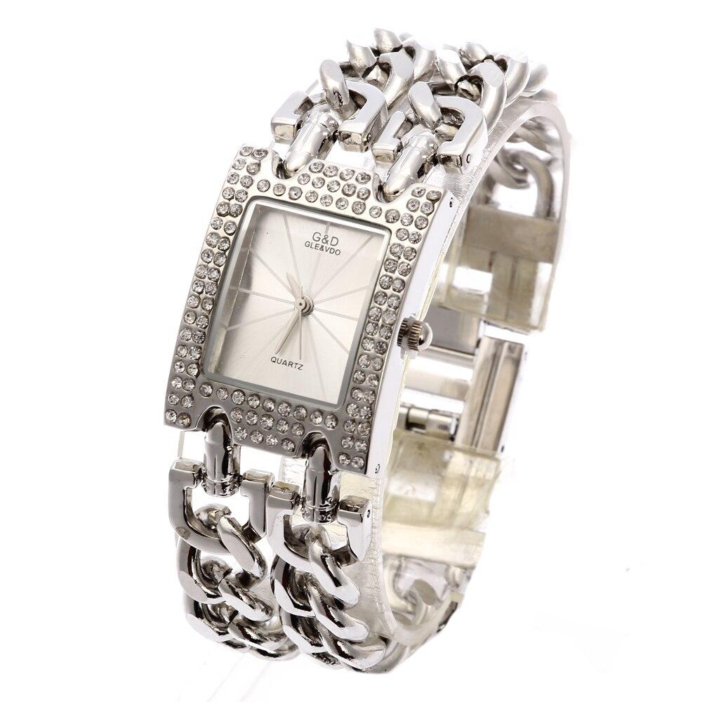 2018 G&D rokas pulksteņi Sieviešu kvarca pulkstenis Relogio Femonino Sieviešu kleita Skatīties Top zīmola luksusa dāvanu rhinestone Reloj Mujer Silver