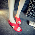 2016 new sandals women summer student han edition with flat contracted beach antiskid jelly shoes with fashion tide