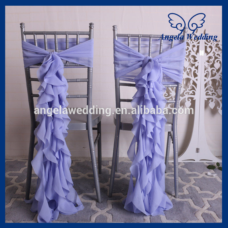CH020B New cheap curly willow lilac chiffon chair cover or chair sash