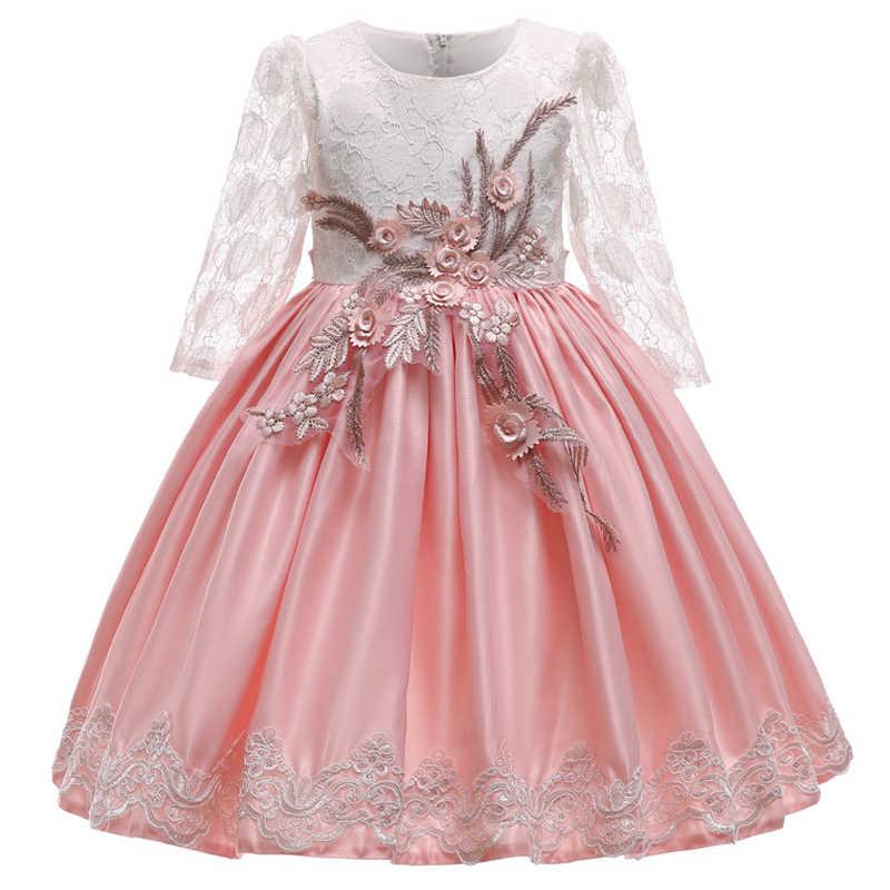 c1b6b8d9 ... 2019 Verano de manga larga de encaje flor niñas vestido de boda traje  de fiesta niños ...