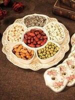 Europeu-estilo bandeja de frutas secas grade de cerâmica com tampa criativo caixa de frutas secas doces sementes de melão lanche bandeja sala de estar frutas t
