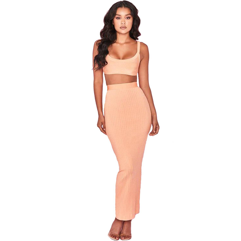 2018 Supérieure Rouge Sexy Qualité Femmes Nouvelle Pour De Robe Longue Orange 2 Pièce Rose Ensemble Tenue Fête Bandage rouge Sangle Rayonne Serré rnII5q4