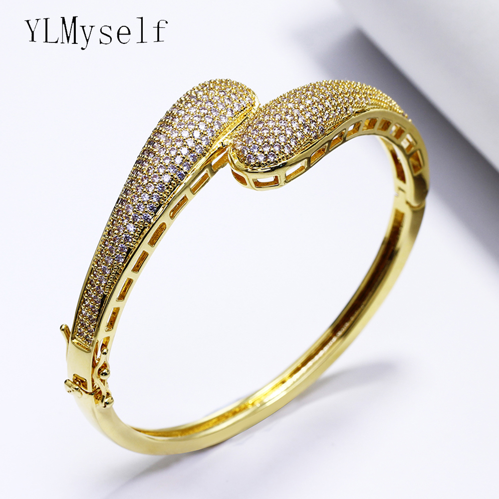 Bridal wedding bangles white and gold-color top jewelry with full aaa crystal elegant female charming Bracelet for party