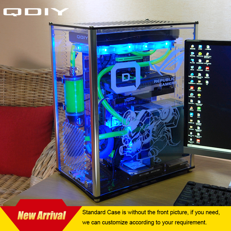 QDIY PC-A009  ATX Transparent Computer Case PC Case Water Cooled Acrylic Computer Case new 3u ultra short computer case 380mm large panel big power supply ultra short 3u computer case server computer case