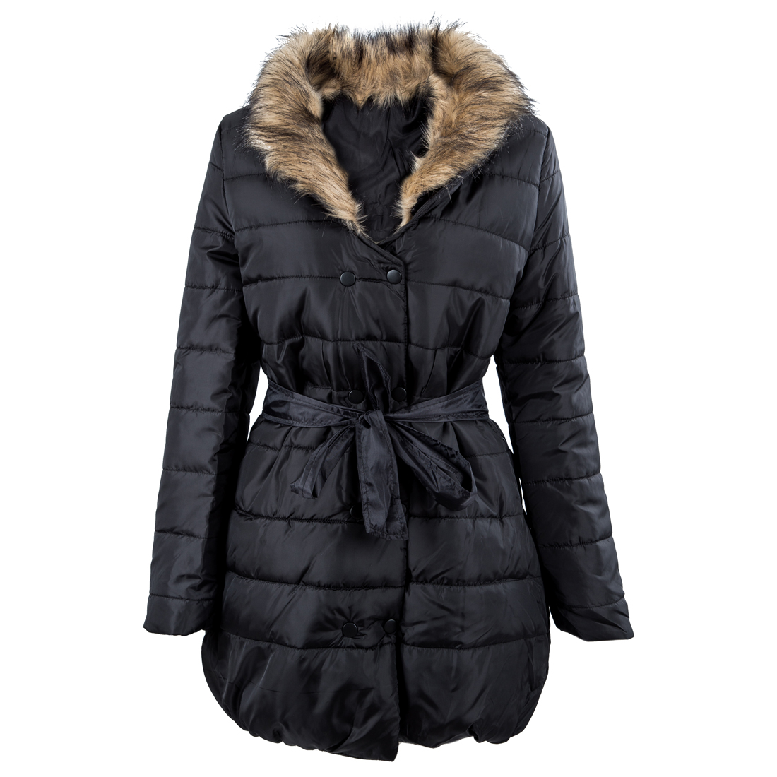 Womens Long down cotton trench coat double Breasted padded jacket belt fur - Black M