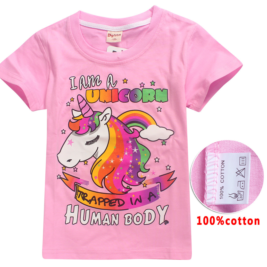 Hot Sale Children's Dabbing licorn Unicorn Funny Printing Tee Shirts Boy and Girl Summer Short Sleeve T-shirts Kid's Casual Tops