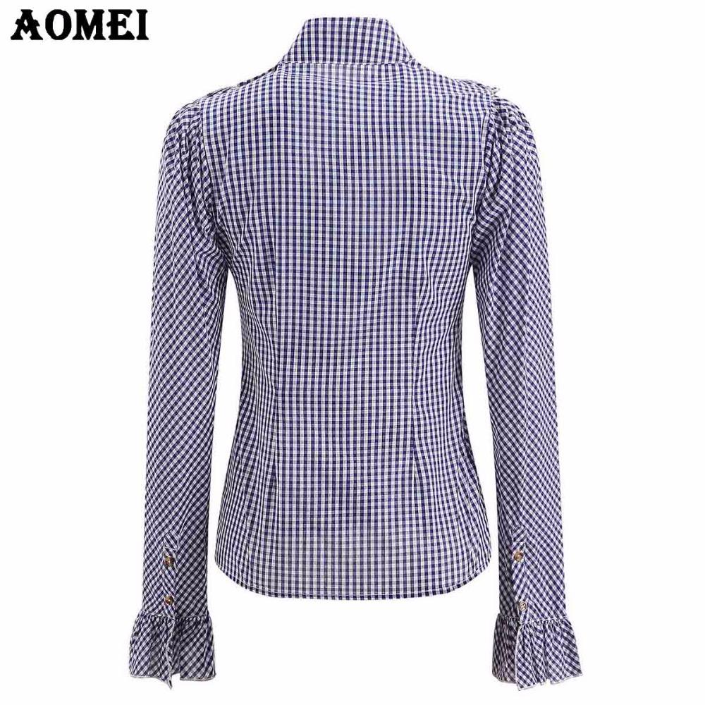 4cd8fe734 Blusa y camisas de manga larga para mujeres Blusa de tela escocesa azul  rosa Peplum Tops Mujer Ropa de trabajo de oficina de primavera y verano