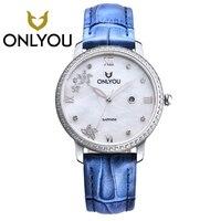 ONLYOU новые женские часы Модные Синий кожаный ремешок бриллиантовые Кварцевые женские богатое платье часы женские повседневные часы из розо