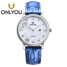 ONLYOU New Women Watches Fashion blue Leather Strap Diamond Quartz Ladies generous Dress Watches Female Casual Rose Gold Watches