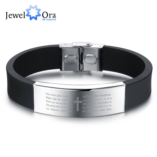 55b62c0ba12b6 US $4.99 |Scripture Pattern Silicone Stainless Steel Bracelets & Bangles  Fashion Men's Bracelet Gift Ideas For Him(JewelOra BA101394)-in Cuff ...