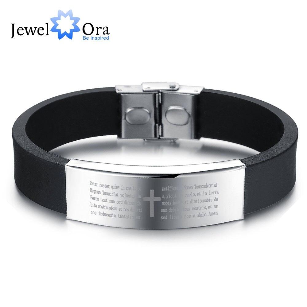 Scripture Pattern Silicone Stainless Steel Bracelets & Bangles Fashion Men's Bracelet Gift Ideas For Him(JewelOra BA101394)