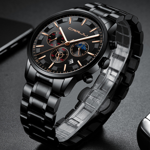 Image 4 - Crrju男性ステンレス鋼クォーツ防水時計多機能クロノグラフ日付表示腕時計黒レロジオ