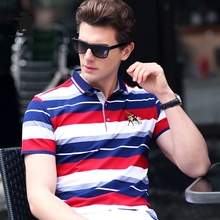 2017 Summer New men's Polo Shirt Brand Fashion Striped High Quality Plus Size Business Casual Polo Shirt Men M~3XL C15E8202