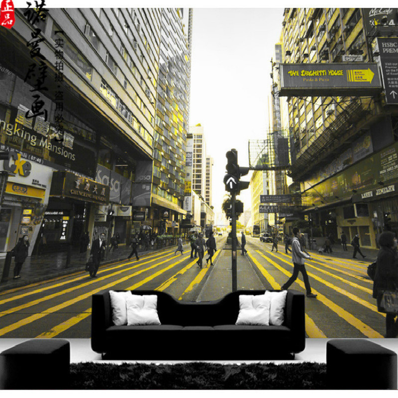 Custom Stereoscopic Large 3D Wallpaper Mural Street Scenery Hong Kong City Restaurant 3D Wallpaper for Walls Living Room quelle venice beach 682976
