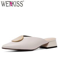 025f34892a WETKISS 2019 New Women Slides Shoes Leather Slippers Women Thick Med Heels  Summer Shoes Female Buckle
