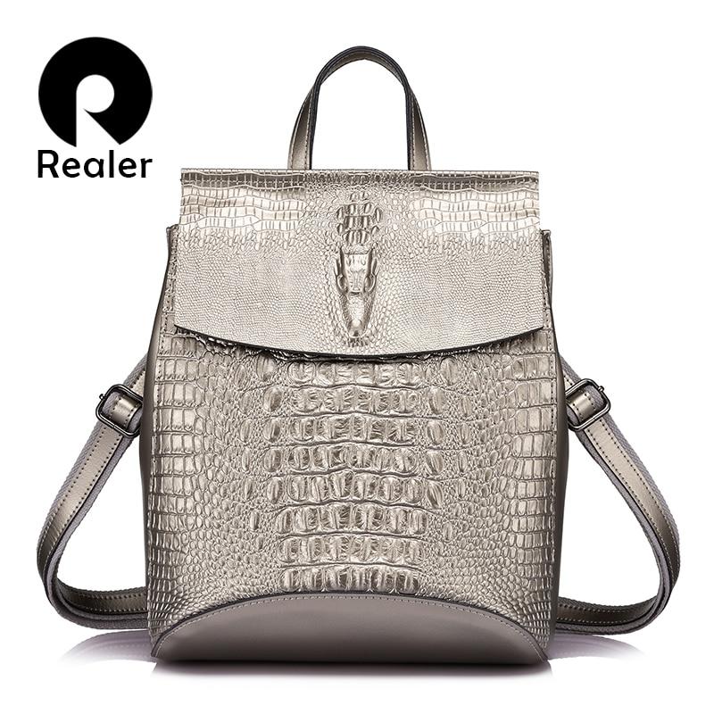 REALER women backpack split leather school backpacks for girls teenagers fashion designs backpack alligator prints gold