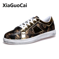 2017 Spring Autumn Man Casual Shoes Lace Up Flat Shoes Breathable Skull Metallic Korean Fashionable Man