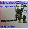 La versión de europa, placa base placa base para samsung galaxy note 3 n900 abierto original con chips, 100% buen funcionamiento, envío libre