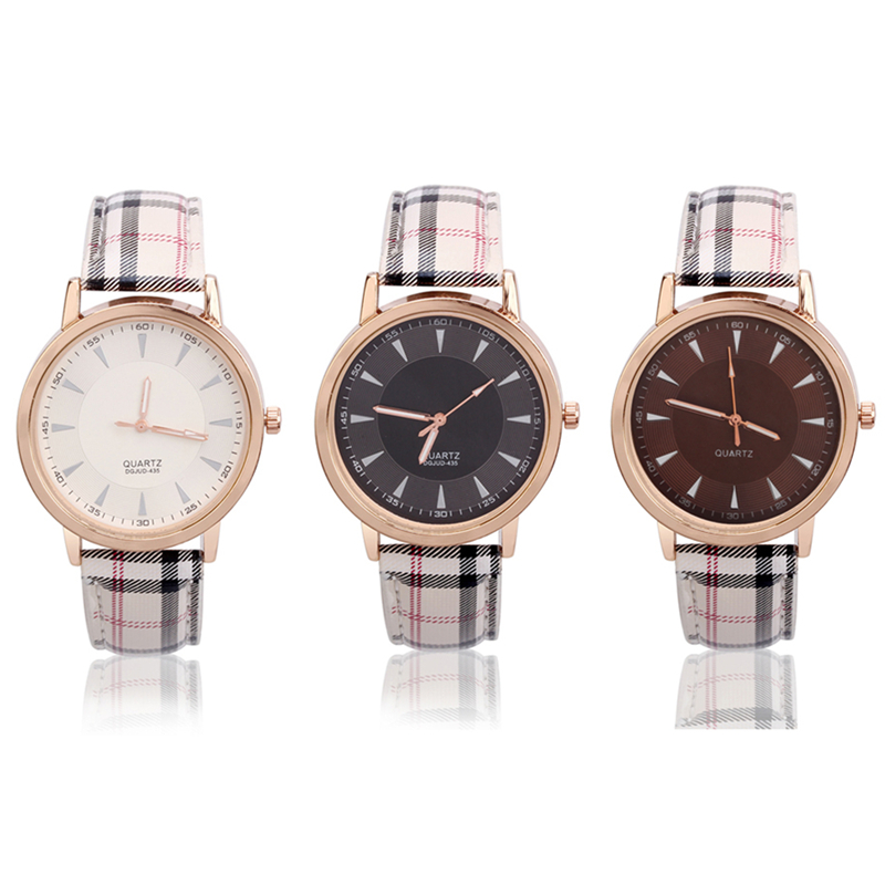 new stylish plaid women's watches can be optional thr