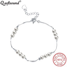 Delicate 925 Sterling Silver Round Synthetic Pearl Bracelets For Women Elegant Jewelry Gifts For Women Pulceras Para Mujer QB012(China)