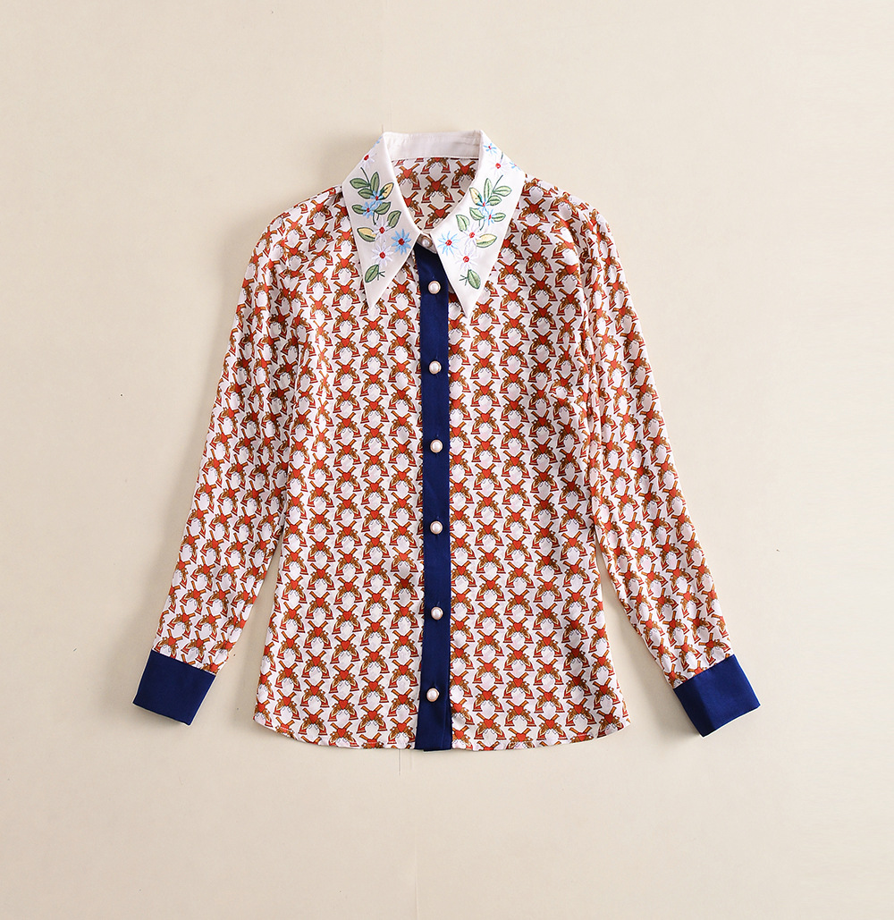 European and American new silk print shirt for spring and 2018 women's wear embroidered shirt - 3