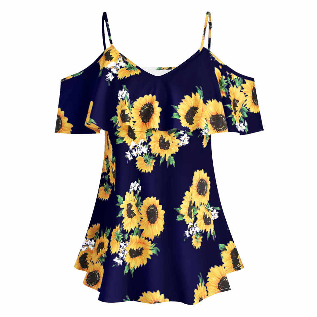 CHAMSGEND Plus Size Vrouwen Blouse 2019 Fashion Zonnebloem Gedrukt Korte Mouwen Ruches Blouse Casual Koud Shouder Tops May23