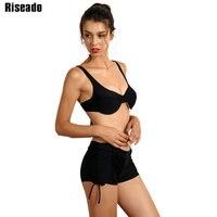 Riseado 2018 Push Up Bikini Set Sexy Swimwear Women Strap Bandage Solid Swimsuit Boyshort Swim Wear