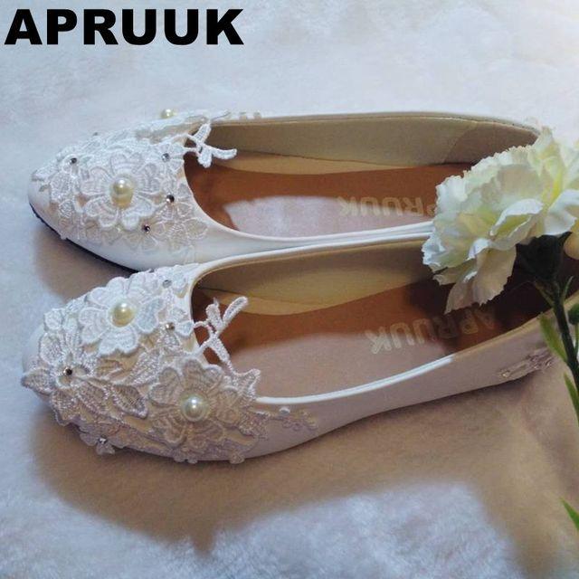 Flats Wedding Shoe White Light Ivory Lace Flower Sweet Lace Flats Shoe  Handmade Womanu0027s Wedding Flat