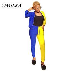 OMILKA 2018 Лето Для женщин куртка на молнии с длинными рукавами и длинные брюки комплект Повседневное синий желтый контраст Цвет 2 шт. Костюмы