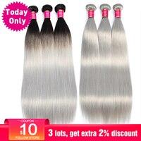 TODAY ONLY 1/ 3 / 4 Bundles Brazilian Hair Weave Bundles Silver Grey Straight Human Hair Bundles Ombre Bundles 1B/Grey Hair Remy