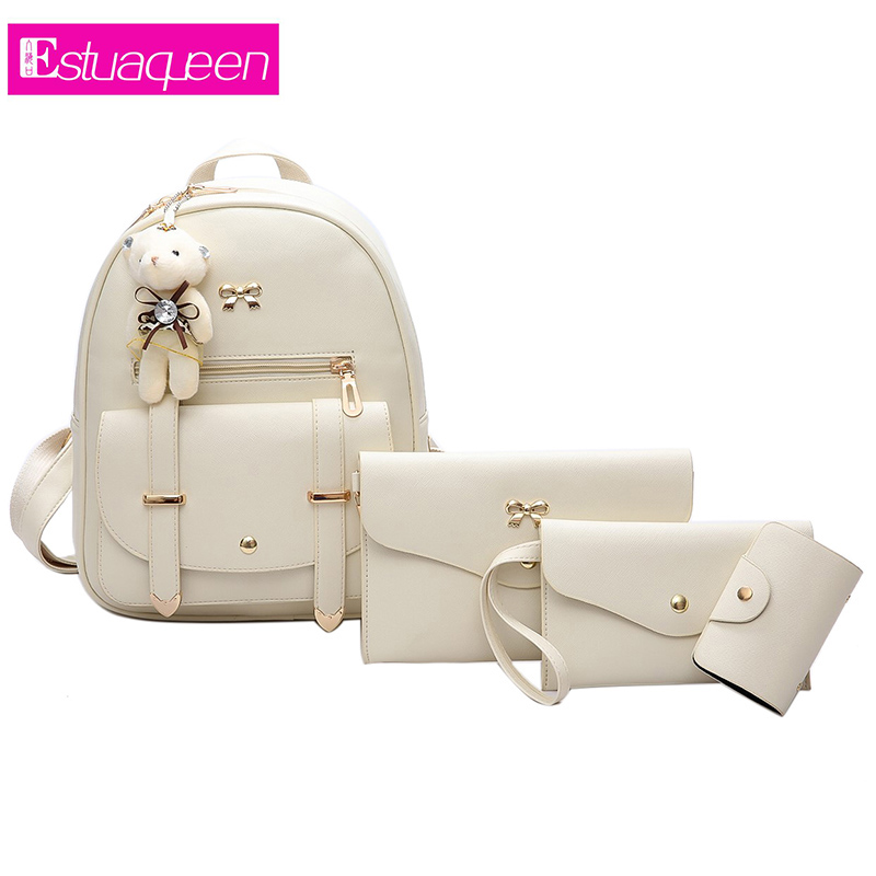 Women backpacks fashion PU leather shoulder bag Solid Color small backpack embossed School Bags for girl  Composite Bagpack set women backpacks fashion pu leather shoulder bag small backpack women embroidery dragonfly floral school bags for girls
