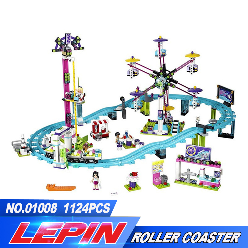 New Lepin 01008 1124Pcs Amusement Park Roller Coaster Building Block figures Blocks Bricks Toys friends for girl 41130 legoed 2016 new lepin 01008 1124pcs amusement park coaster building kits girl friend blocks bricks toys compatible gift 4113