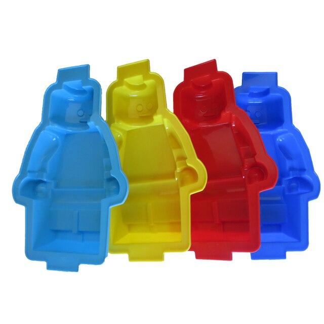 1PC Super Big 100% foodgrade lego shaped silicone cake mold,robot silicone cake mold