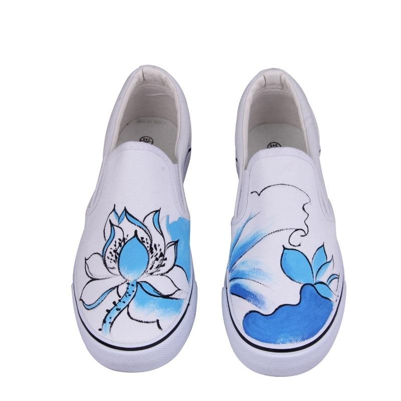 Modestil Gba Neue Fuß Verpackung Frauen Leinwand Schuhe Personalisierte Hand Bemalt Schuhe Blume Flache Niedrigen Graffiti Schuhe Komfortable Kuh Muscle Diversifizierte Neueste Designs
