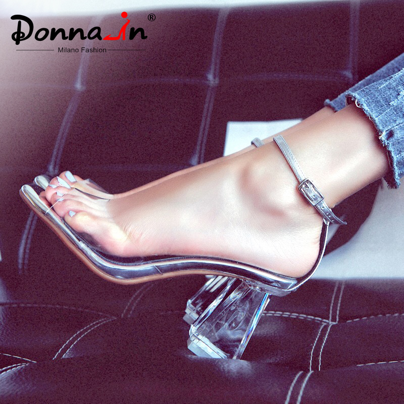 Donna in High Heels Sandals Women Transparent Clear Heels Peep Toe Genuine Leather Sandals Thick Heels