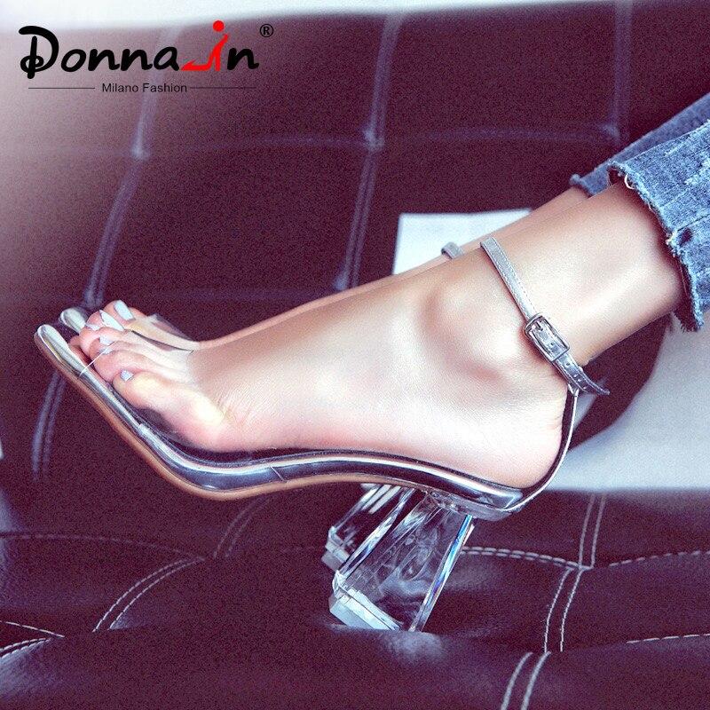ドナでのハイヒールのサンダルの女性透明なクリアハイヒールピープトウシューズ本革サンダル厚いかかとゼリーの靴女性黒  グループ上の 靴 からの ハイヒール の中 1