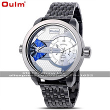 2016 Oulm 3221 Unisex Dual-movement Sports Mechanical Watch with GMT Dual Time Display, Thermometer & Compass