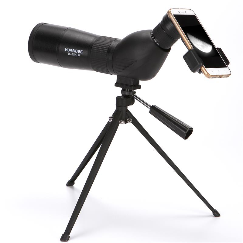HUANDEE 15-45X60 Monocular Telescopes Spotting Scope Telescope Zoom Waterproof Spotting Scopes For Hunting Telescope with tripod visionking 30 90x90 waterproof spotting scope zoom spotting scope full multicoated birdwatching monocular telescope with tripod