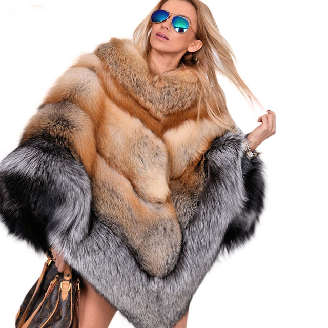 959770bab4878 Fandy Lokar Silver Fox Fur Coats Red Fox Real Fur Cape Russian Fur Coat  Colored Fur