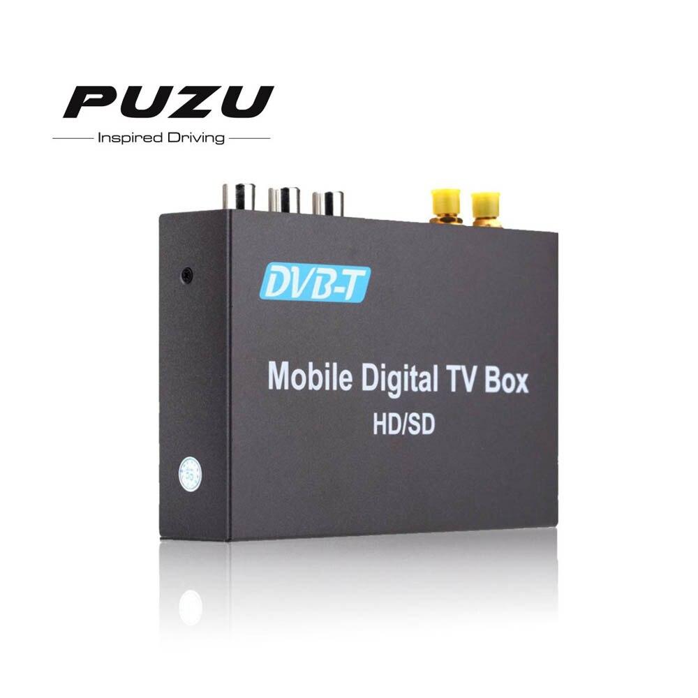PUZU HD car DVB-T mpeg4 MPEG-4 Mobile Digital TV Box tuner Receiver For car radio dvb box VHF-H:174~230Mhz UHF:470~862Mhz tv034 dvb t mpeg 4 car digital tv receiver black