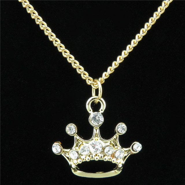 Free shipping r2258 gold clear rhinestone queen princess crown free shipping r2258 gold clear rhinestone queen princess crown pendant for 18 fashion jewelry aloadofball Choice Image